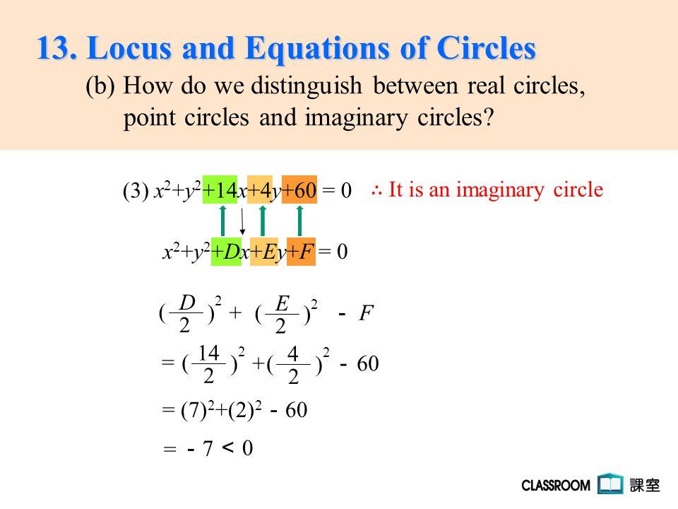 = (7) 2 +(2) 2 - 60 x 2 +y 2 +Dx+Ey+F = 0 -7-7 = 0 < ∴ It is an imaginary circle (3) x 2 +y 2 +14x+4y+60 = 0 E 2 ( ) 2 + - F D 2 ( ) 2 13.