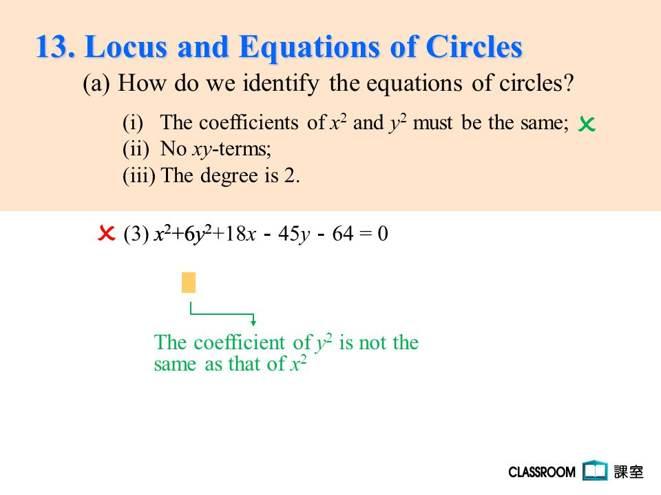 (3) x 2 +6y 2 +18x - 45y - 64 = 0  x 2 +6y 2 The coefficient of y 2 is not the same as that of x 2  13. Locus and Equations of Circles (a) How do we