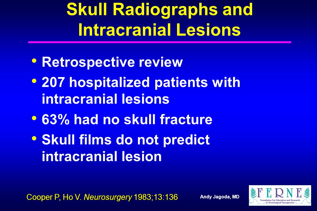 Andy Jagoda, MD Skull Radiographs and Intracranial Lesions Retrospective review 207 hospitalized patients with intracranial lesions 63% had no skull fracture Skull films do not predict intracranial lesion Cooper P, Ho V.