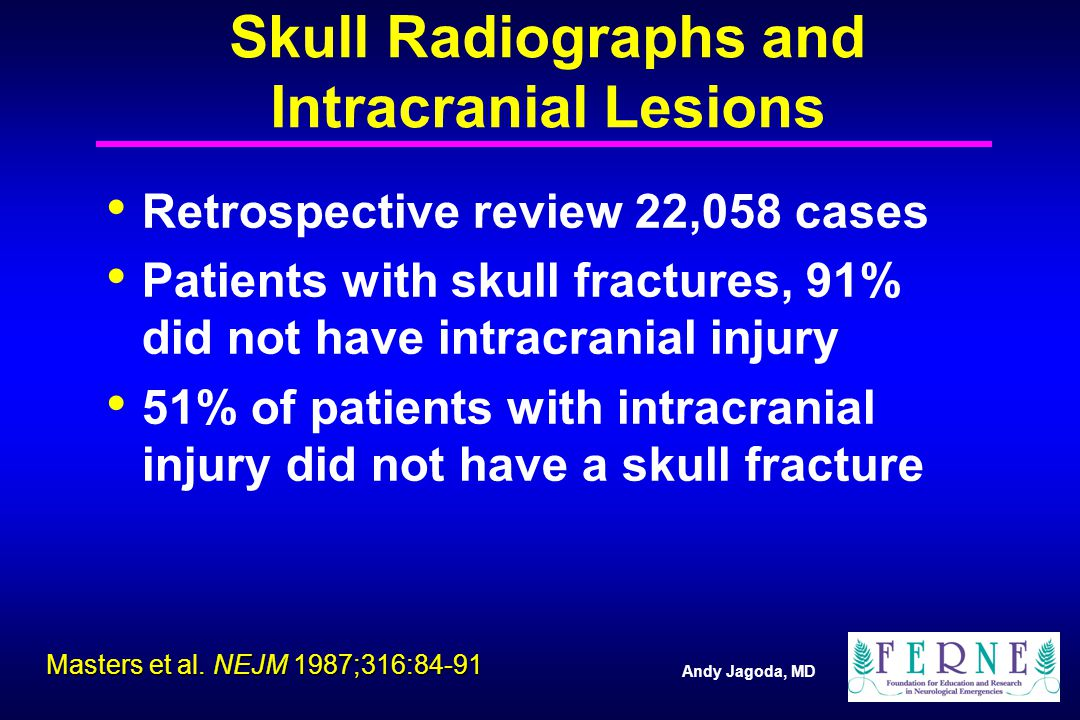 Andy Jagoda, MD Retrospective review 22,058 cases Patients with skull fractures, 91% did not have intracranial injury 51% of patients with intracranial injury did not have a skull fracture Masters et al.