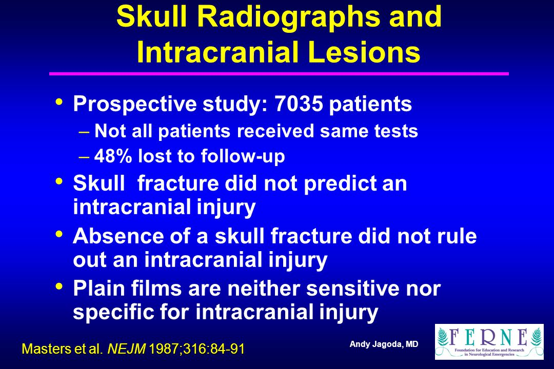 Andy Jagoda, MD Skull Radiographs and Intracranial Lesions Prospective study: 7035 patients –Not all patients received same tests –48% lost to follow-up Skull fracture did not predict an intracranial injury Absence of a skull fracture did not rule out an intracranial injury Plain films are neither sensitive nor specific for intracranial injury Masters et al.