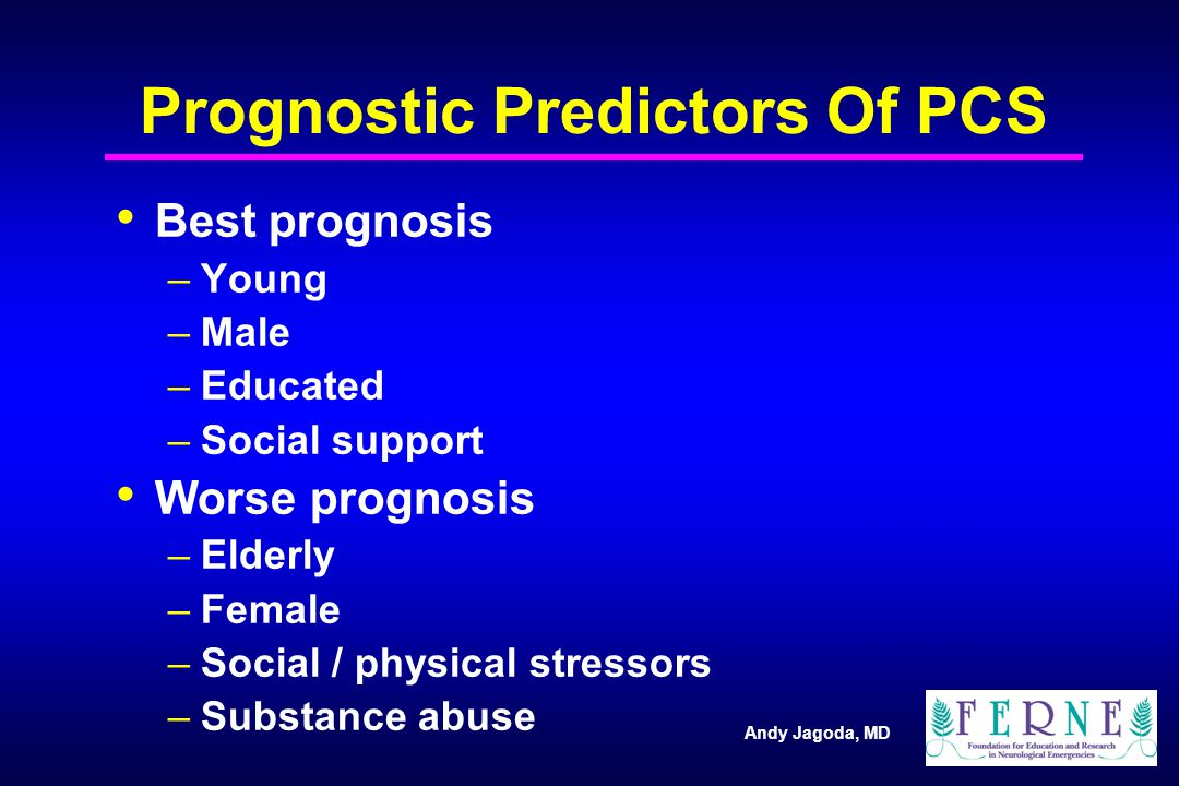 Andy Jagoda, MD Prognostic Predictors Of PCS Best prognosis –Young –Male –Educated –Social support Worse prognosis –Elderly –Female –Social / physical stressors –Substance abuse