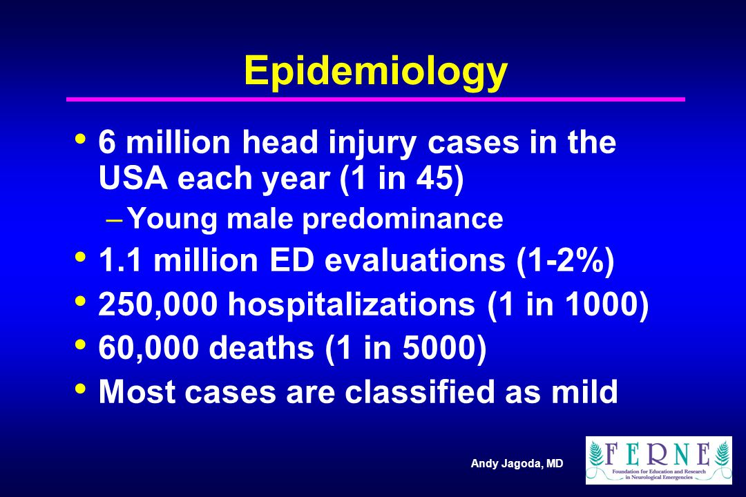 Andy Jagoda, MD Epidemiology 6 million head injury cases in the USA each year (1 in 45) –Young male predominance 1.1 million ED evaluations (1-2%) 250,000 hospitalizations (1 in 1000) 60,000 deaths (1 in 5000) Most cases are classified as mild