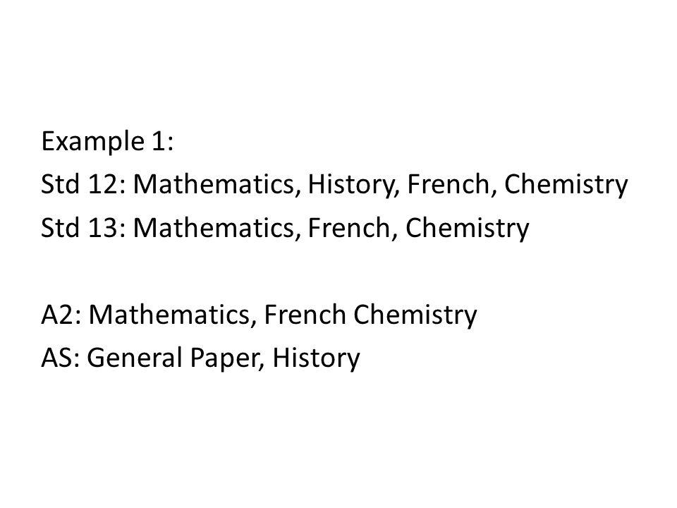 Example 2: Std 12: Biology, Art, German, Business Studies Std 13: Art, German, Business Studies, Tech A2: Art, German, Business Studies AS: General Paper, Biology, Tech