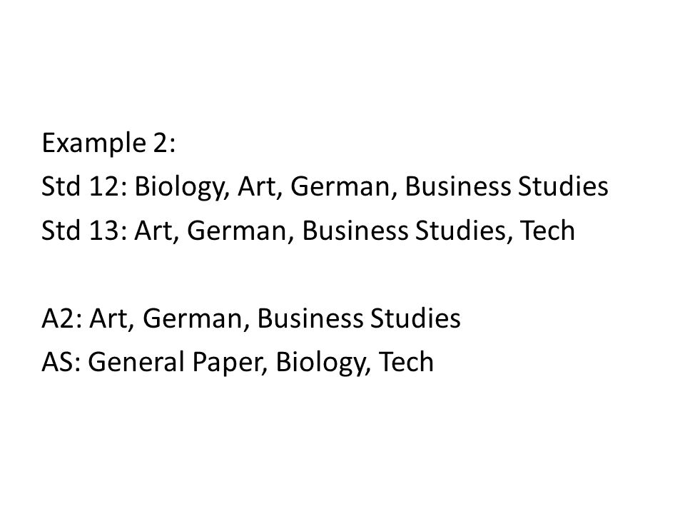 Example 2: Std 12: Biology, Art, German, Business Studies Std 13: Art, German, Business Studies, Tech A2: Art, German, Business Studies AS: General Paper, Biology, Tech