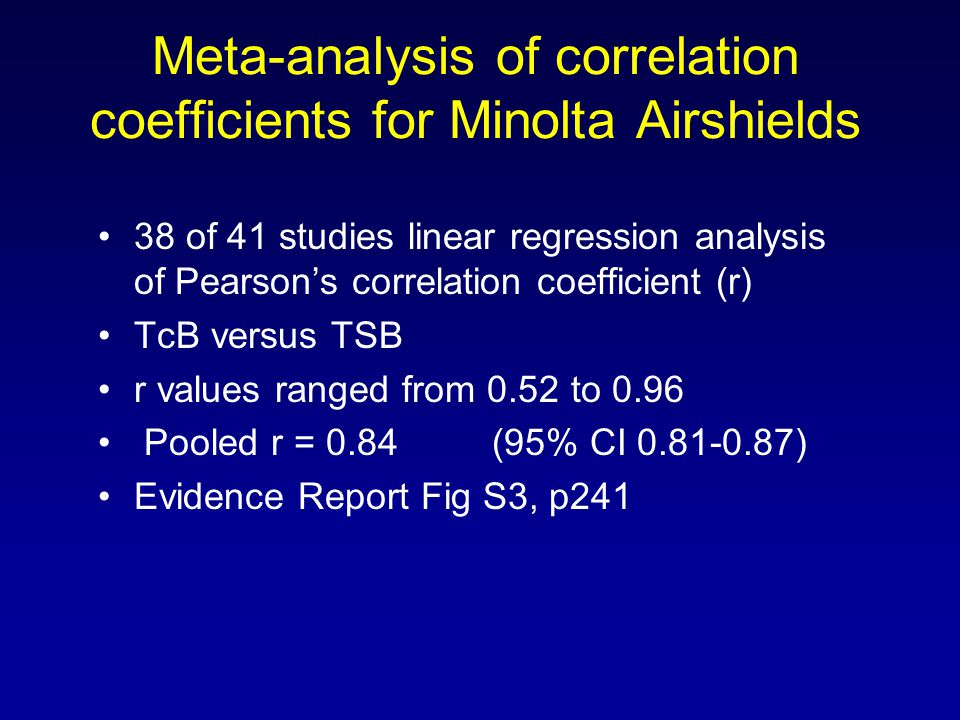 Meta-analysis of correlation coefficients for Minolta Airshields 38 of 41 studies linear regression analysis of Pearson's correlation coefficient (r)