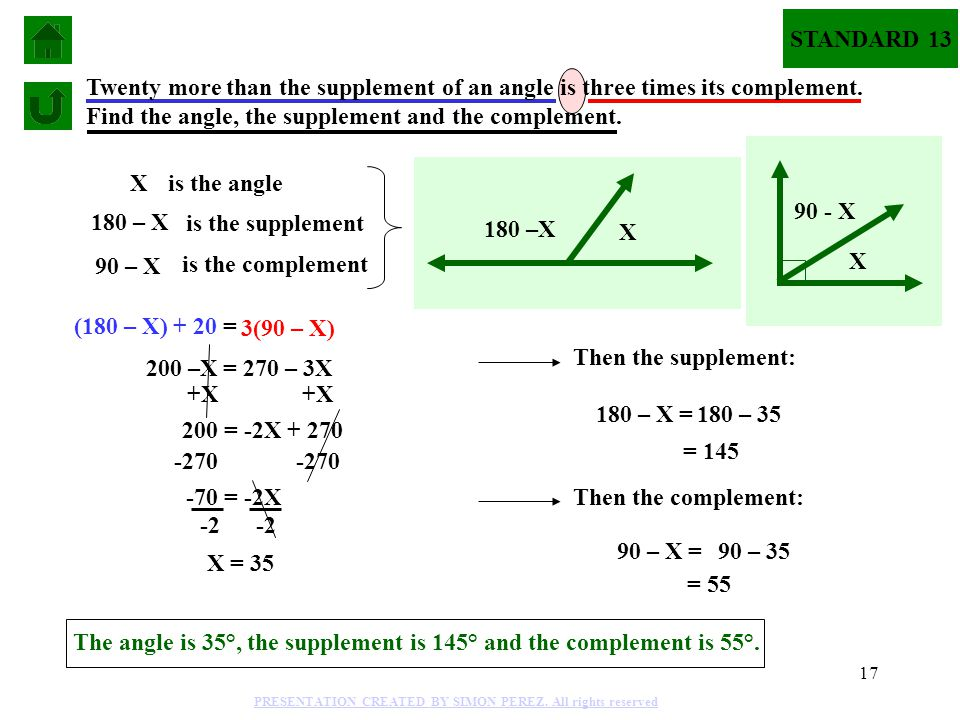 17 (180 – X) + 20 = 3(90 – X) Twenty more than the supplement of an angle is three times its complement. Find the angle, the supplement and the comple