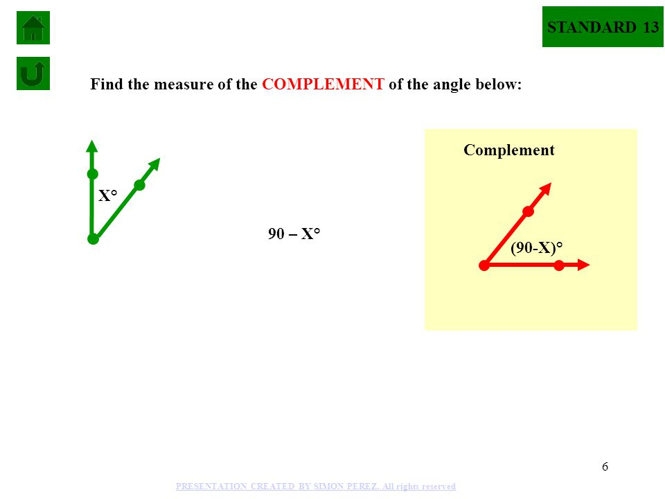 6 Find the measure of the COMPLEMENT of the angle below: 90 – X° Complement (90-X)° X° STANDARD 13 PRESENTATION CREATED BY SIMON PEREZ. All rights res