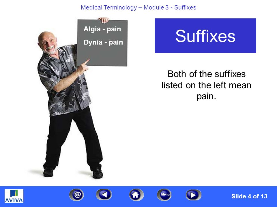 Menu Medical Terminology – Module 3 - Suffixes Both of the suffixes listed on the left mean pain.