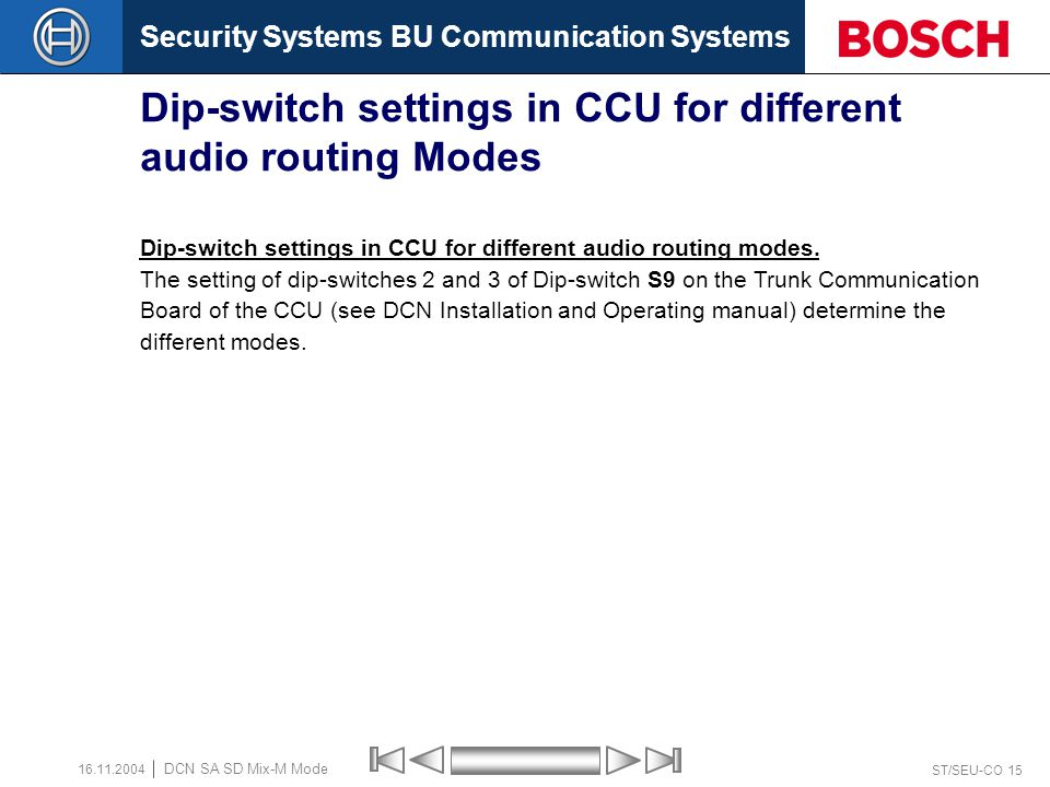 Security Systems BU Communication Systems ST/SEU-CO 14 DCN SA SD Mix-M Mode 16.11.2004 Dip-switch settings in CCU for different audio routing Modes Mo