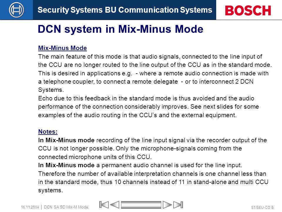Security Systems BU Communication Systems ST/SEU-CO 7 DCN SA SD Mix-M Mode 16.11.2004 CCU – Mix-Minus Mode Delegate / Chairman Microphone Delegate - Unit loudspeaker Equalizer PA Local PA ( MCCU ) Interpreters Headphone Unit - loudspeaker.