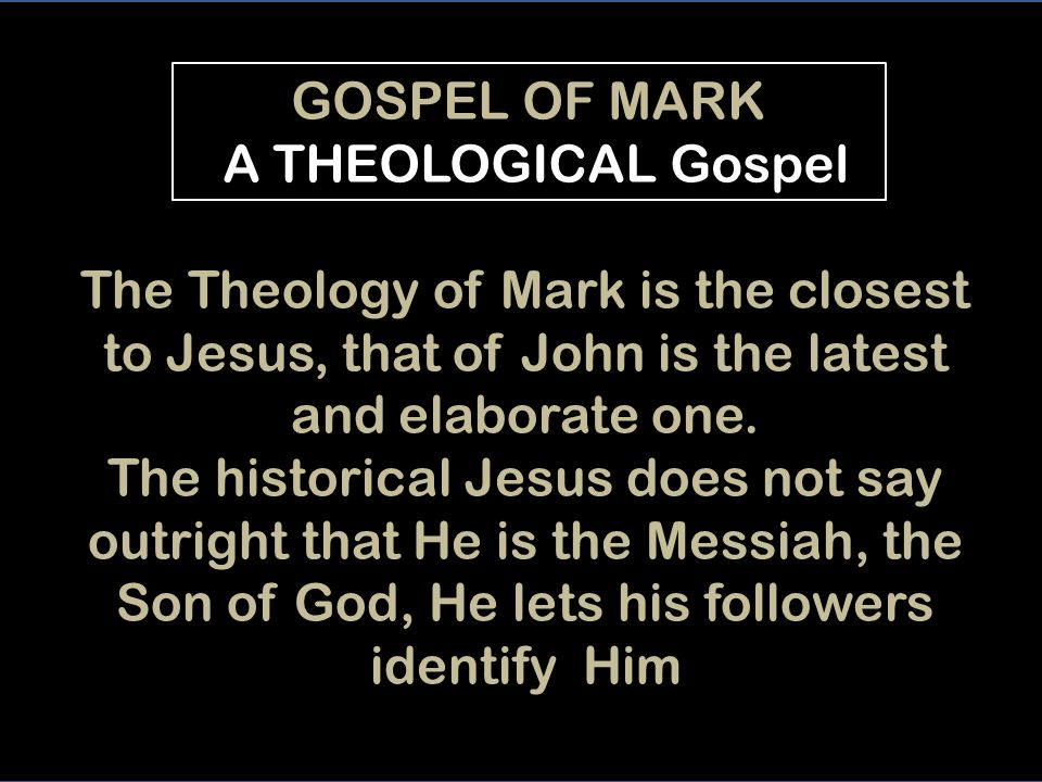 The gaze fixed upon Jesus of the GOSPEL OF MARK