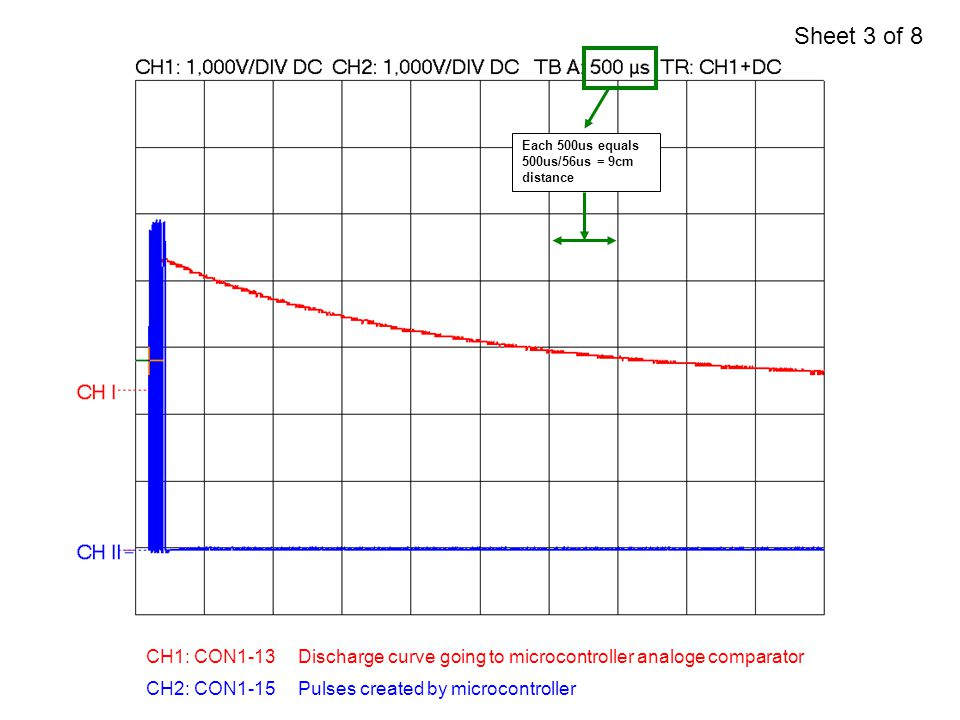CH1: CON1-13 CH2: CON1-15Pulses created by microcontroller Discharge curve going to microcontroller analoge comparator Each 500us equals 500us/56us =