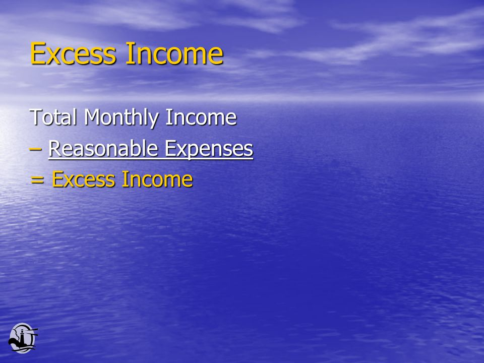 Excess Income Total Monthly Income – Reasonable Expenses = Excess Income