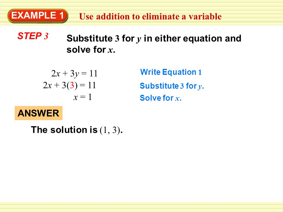 Use addition to eliminate a variable EXAMPLE 1 2x + 3y = 11 11 = 11 Substitute 1 for x and 3 for y in each of the original equations.