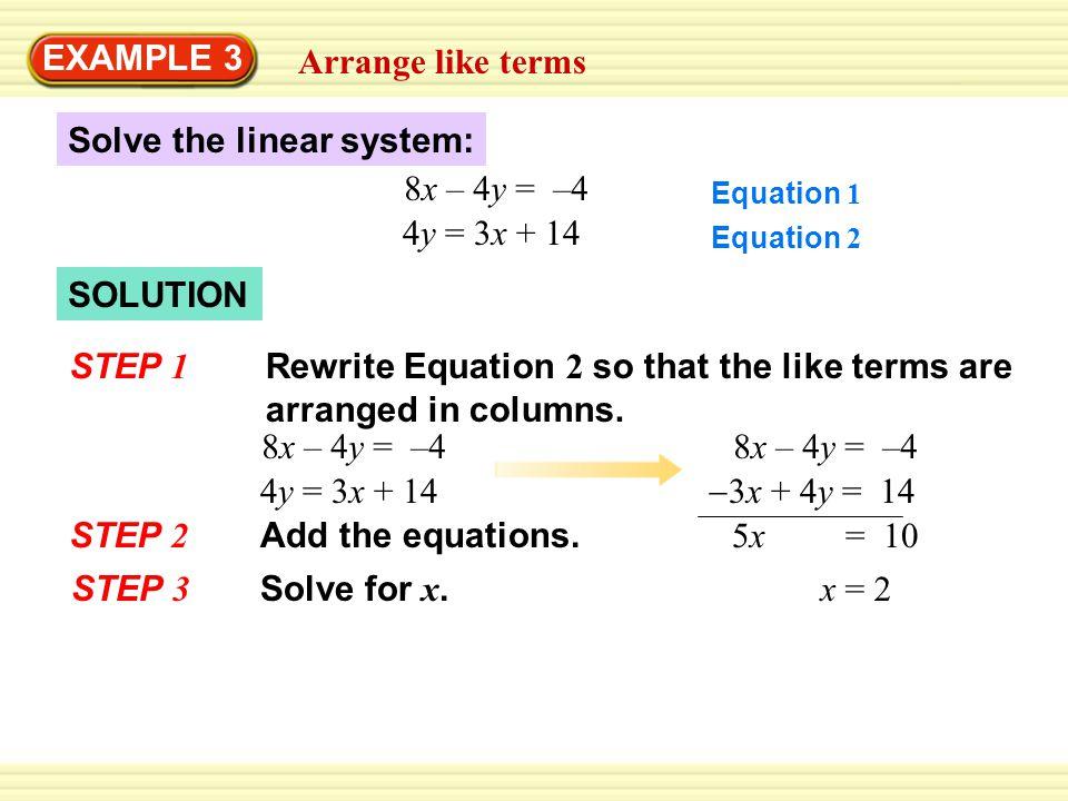 Arrange like terms EXAMPLE 3 4y = 3x + 14 Write Equation 2.
