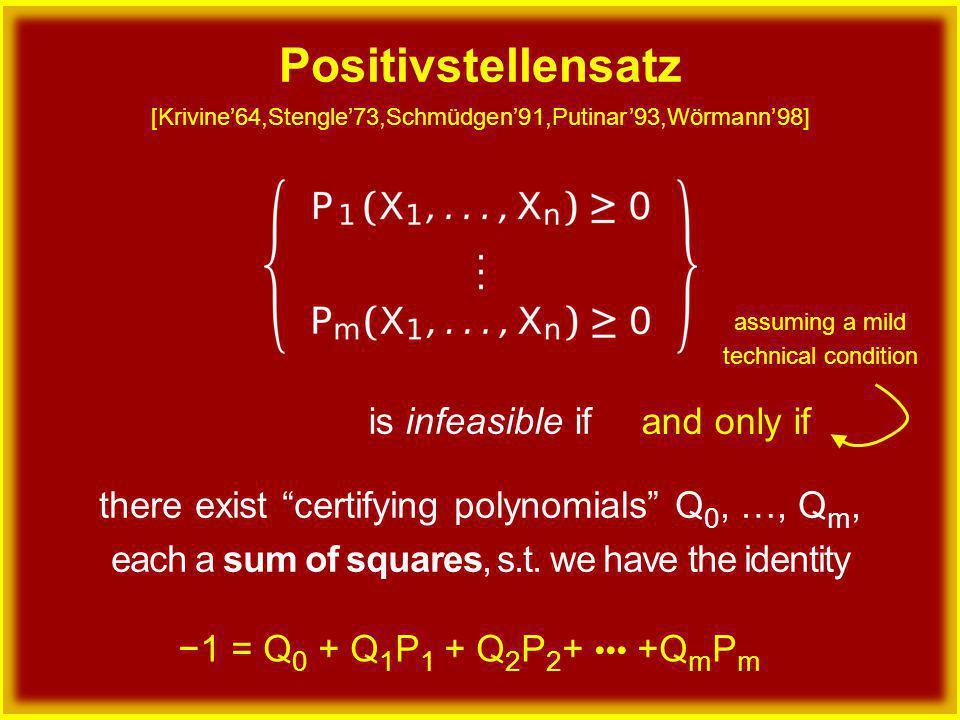 is infeasible if −1 = Q 0 + Q 1 P 1 + Q 2 P 2 + +Q m P m there exist certifying polynomials Q 0, …, Q m, each a sum of squares, s.t.