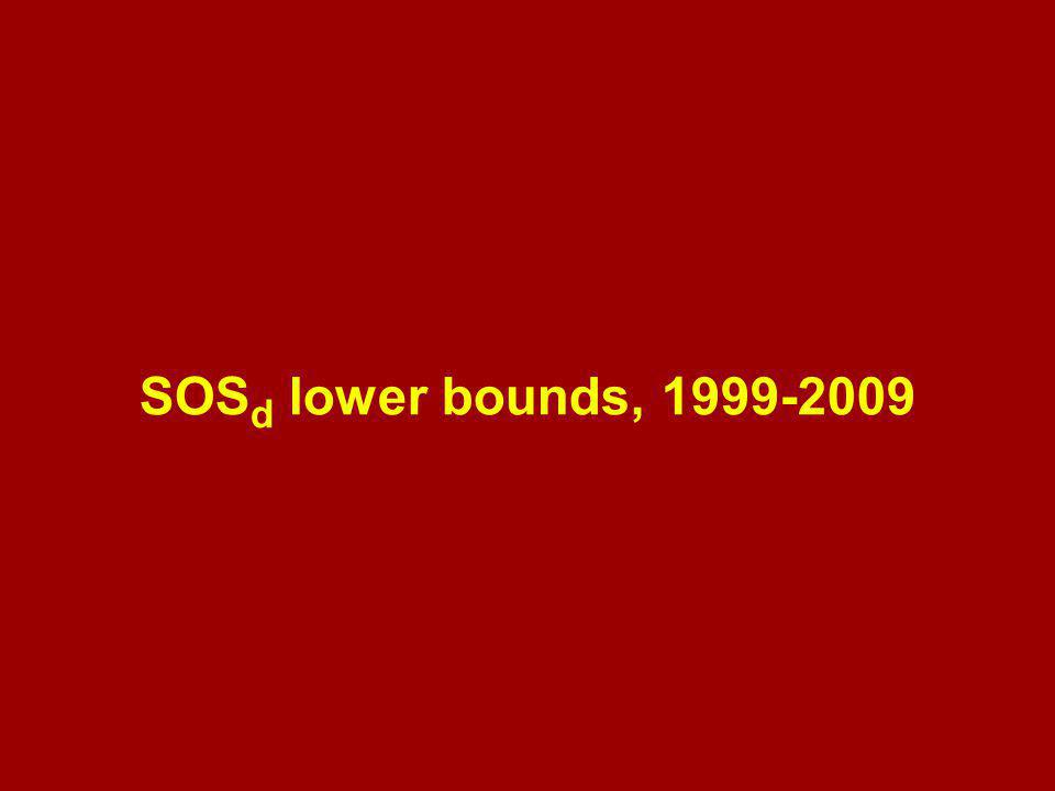 SOS d lower bounds, 1999-2009