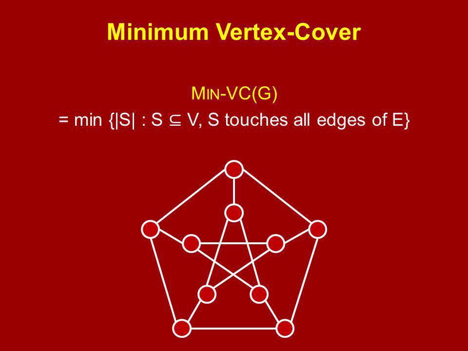 Minimum Vertex-Cover M IN -VC(G) = min {|S| : S ⊆ V, S touches all edges of E}
