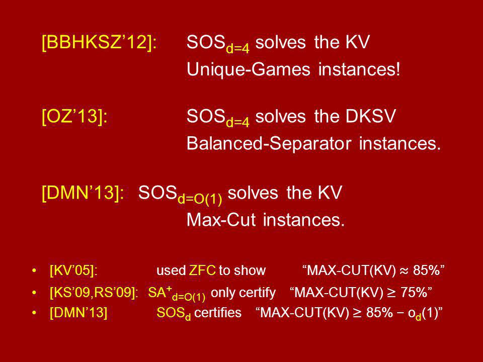 [BBHKSZ'12]: SOS d=4 solves the KV Unique-Games instances.