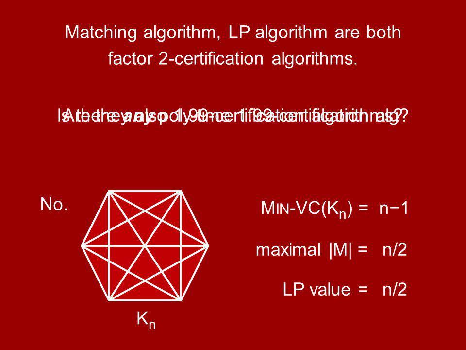 Matching algorithm, LP algorithm are both factor 2-certification algorithms.