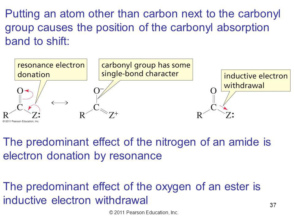 © 2011 Pearson Education, Inc. 36 Esters have a carbonyl and a C—O stretch Ketones have only a carbonyl stretch Carbonyl overtone