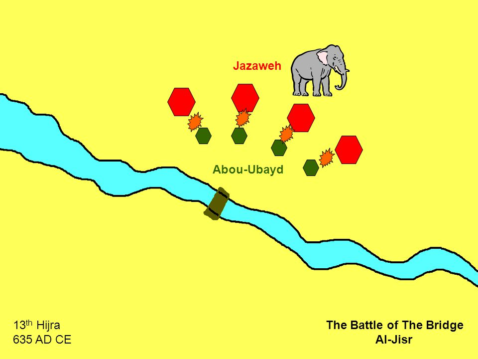 Jazaweh Abou-Ubayd 13 th Hijra 635 AD CE The Battle of The Bridge Al-Jisr