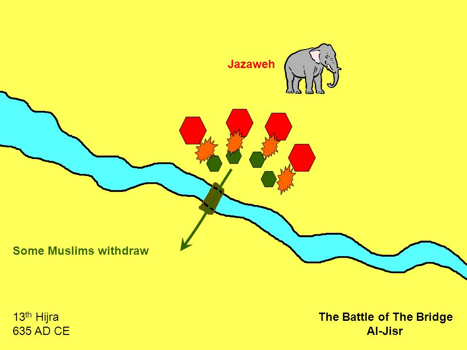 Jazaweh Some Muslims withdraw 13 th Hijra 635 AD CE The Battle of The Bridge Al-Jisr