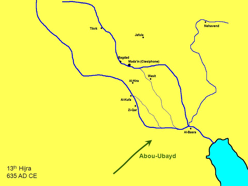 Al-Muthana 13 th Hijra 635 AD CE The Battle of Al-Buwayb البويب Al-Muthana rushes to the bridge
