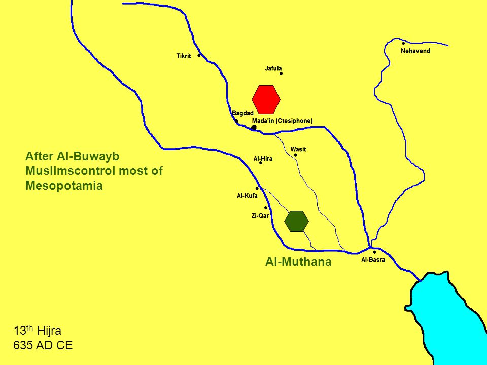 Al-Muthana After Al-Buwayb Muslimscontrol most of Mesopotamia 13 th Hijra 635 AD CE