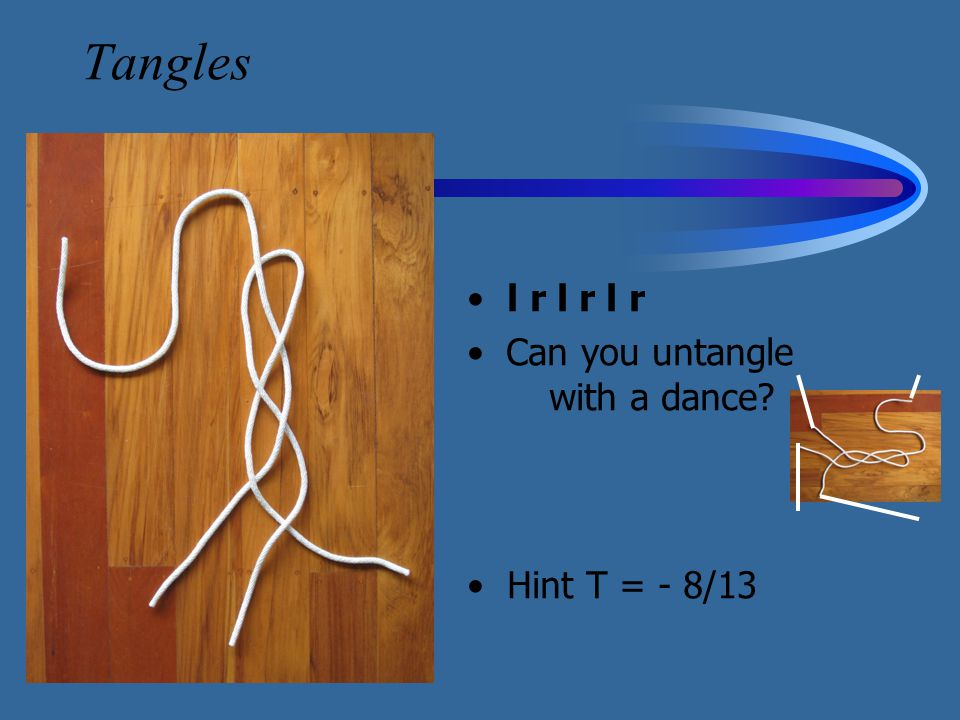 Tangles l r l r l r Can you untangle with a dance? Hint T = - 8/13