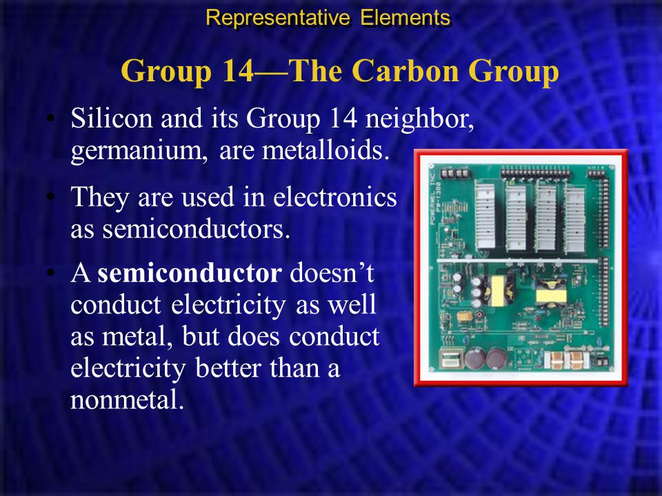 Group 14—The Carbon Group Silicon and its Group 14 neighbor, germanium, are metalloids. Representative Elements They are used in electronics as semico