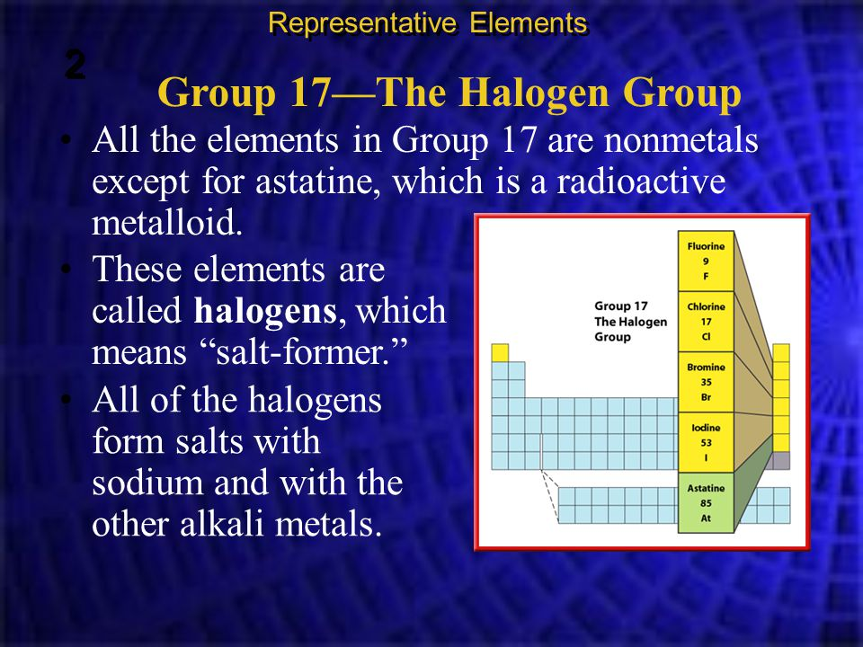 Group 17—The Halogen Group All the elements in Group 17 are nonmetals except for astatine, which is a radioactive metalloid. Representative Elements 2
