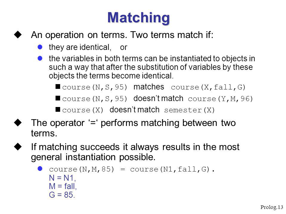 Prolog.13 Matching  An operation on terms. Two terms match if: they are identical, or the variables in both terms can be instantiated to objects in s