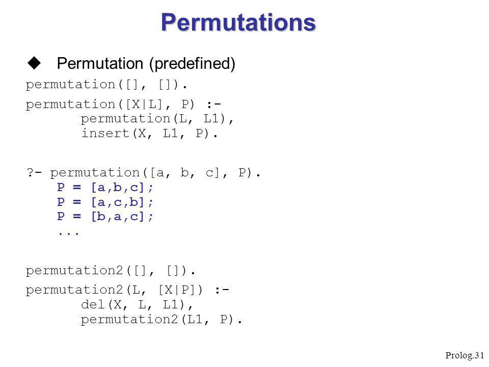 Prolog.31  Permutation (predefined) permutation([], []).