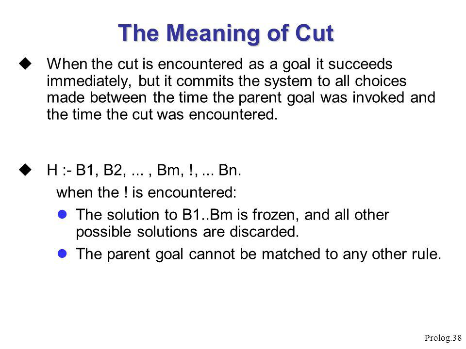 Prolog.38 The Meaning of Cut  When the cut is encountered as a goal it succeeds immediately, but it commits the system to all choices made between th