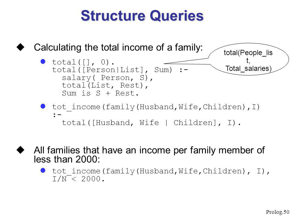 Prolog.50  Calculating the total income of a family: total([], 0). total([Person|List], Sum) :- salary( Person, S), total(List, Rest), Sum is S + Res