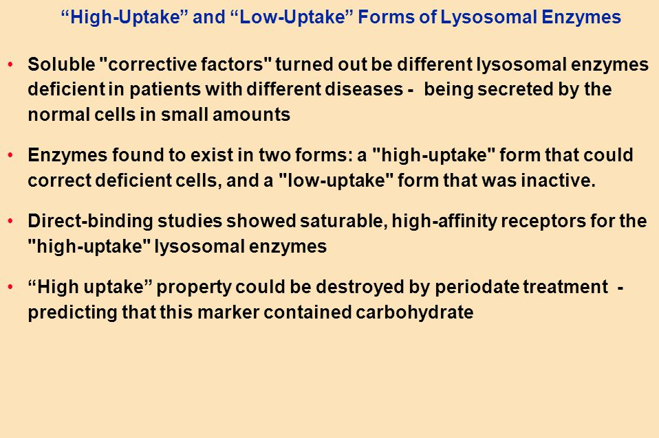 High-Uptake and Low-Uptake Forms of Lysosomal Enzymes Soluble corrective factors turned out be different lysosomal enzymes deficient in patients with different diseases - being secreted by the normal cells in small amounts Enzymes found to exist in two forms: a high-uptake form that could correct deficient cells, and a low-uptake form that was inactive.