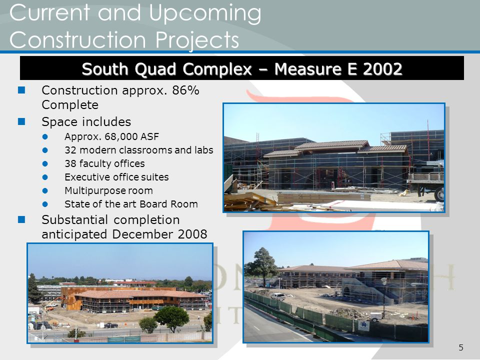 Current and Upcoming Construction Projects Construction approx.