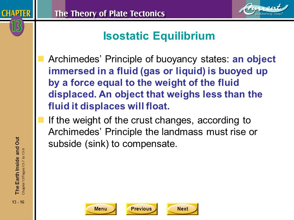 MenuPreviousNext 13 - 16 Isostatic Equilibrium nArchimedes' Principle of buoyancy states: an object immersed in a fluid (gas or liquid) is buoyed up b