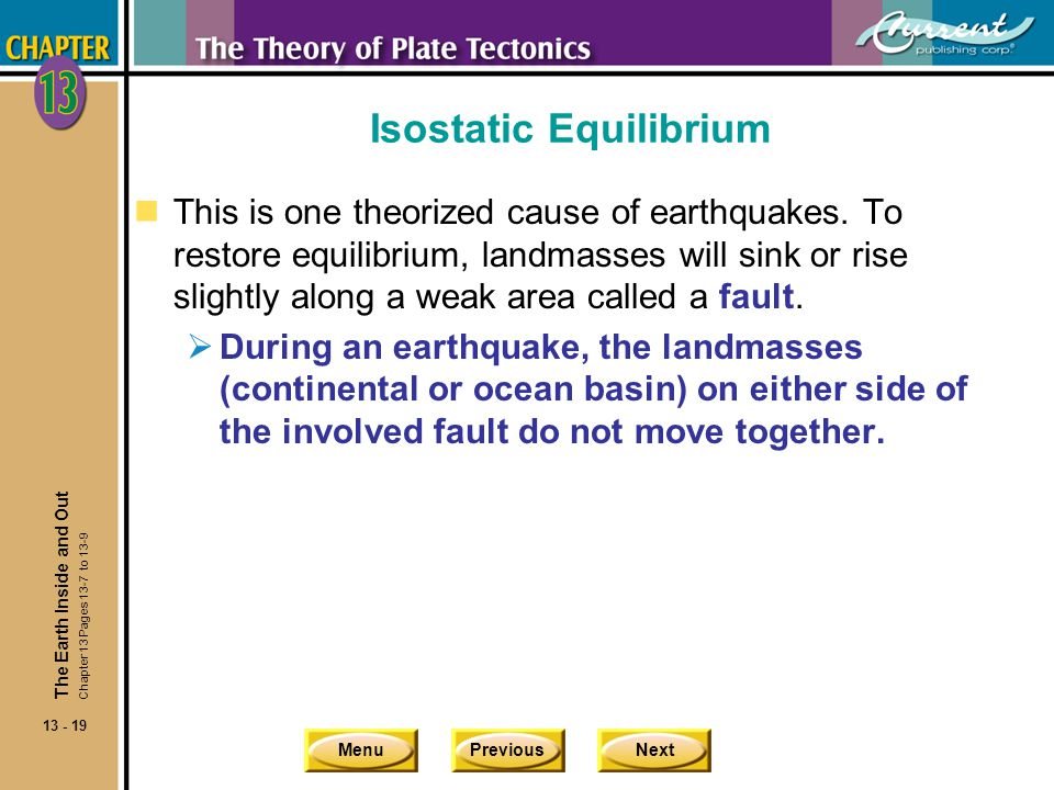 MenuPreviousNext 13 - 19 Isostatic Equilibrium nThis is one theorized cause of earthquakes. To restore equilibrium, landmasses will sink or rise sligh