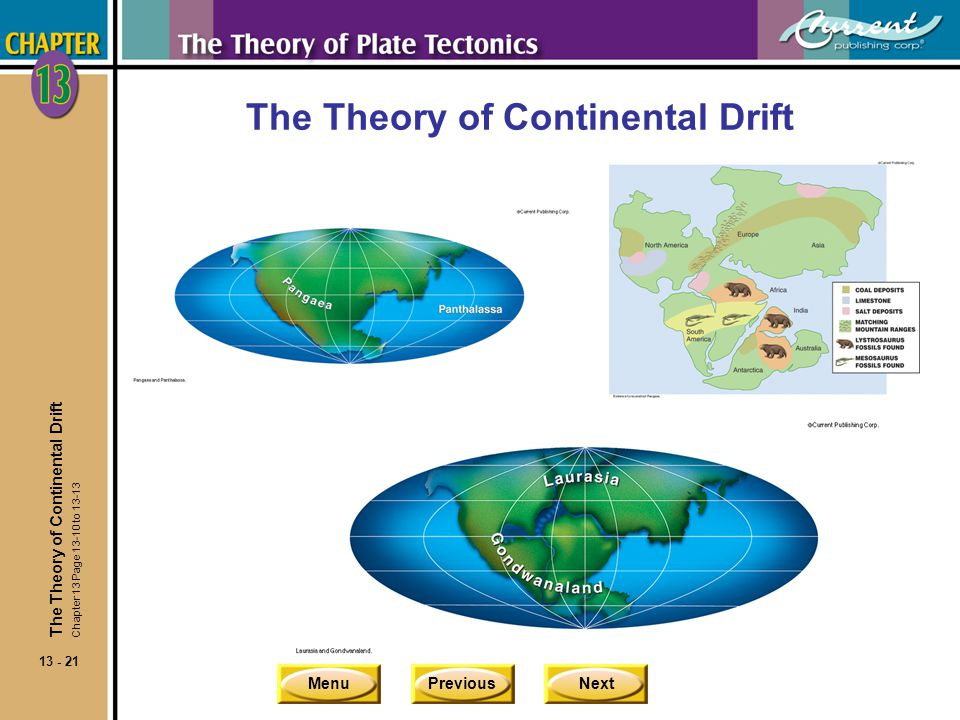 MenuPreviousNext 13 - 21 The Theory of Continental Drift Chapter 13 Page 13-10 to 13-13