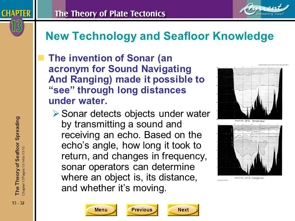 MenuPreviousNext 13 - 32 New Technology and Seafloor Knowledge The invention of Sonar (an acronym for Sound Navigating And Ranging) made it possible t