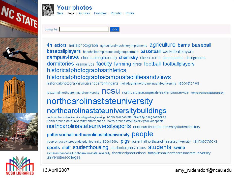 13 April 2007amy_rudersdorf@ncsu.edu User participation in digital collections building