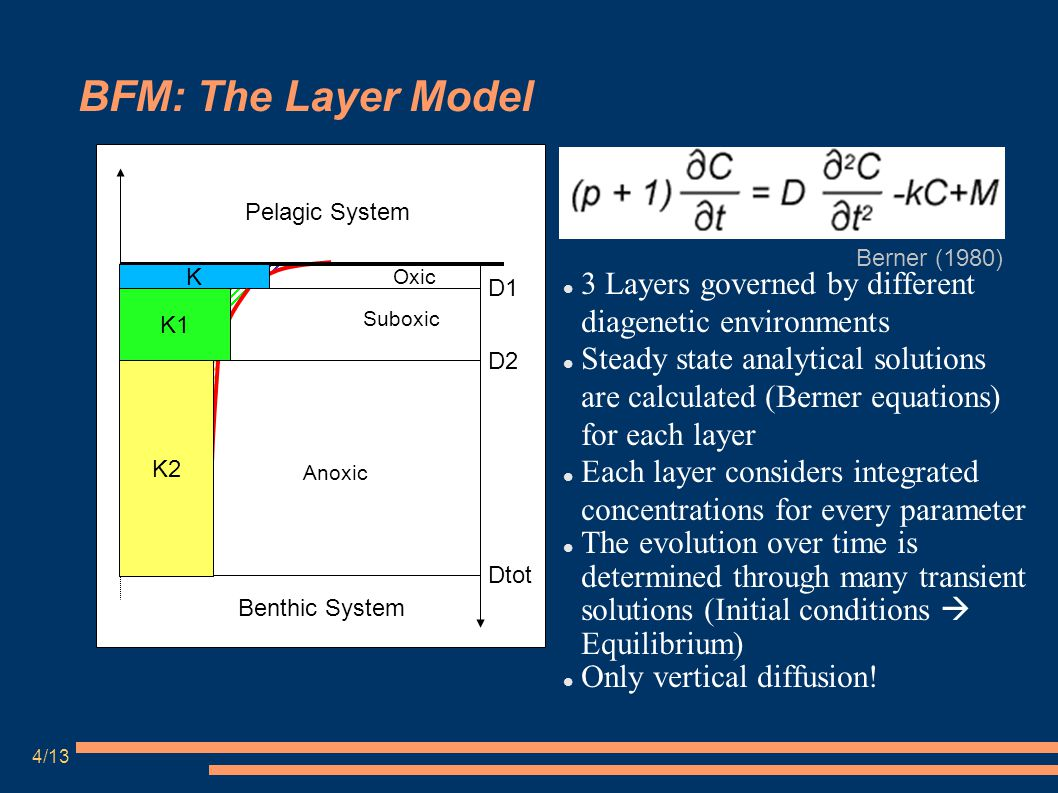 BFM: The Layer Model 3 Layers governed by different diagenetic environments Steady state analytical solutions are calculated (Berner equations) for each layer Each layer considers integrated concentrations for every parameter The evolution over time is determined through many transient solutions (Initial conditions  Equilibrium) Only vertical diffusion.