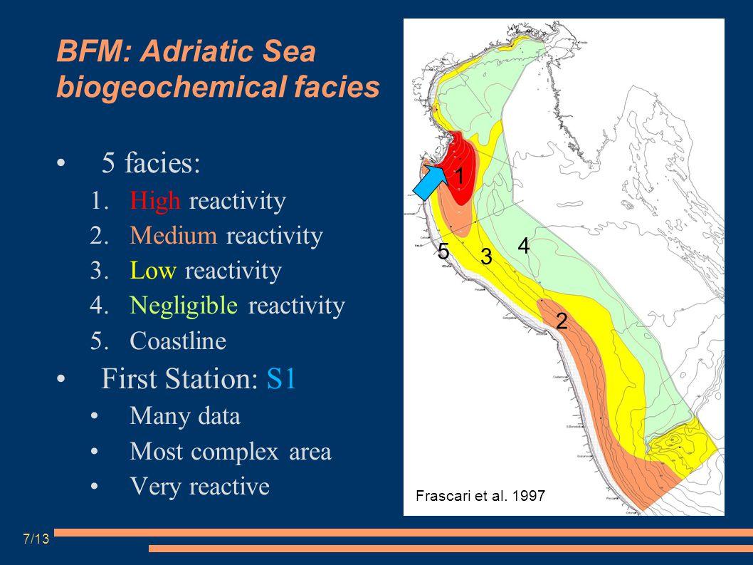 BFM: Adriatic Sea biogeochemical facies 5 facies: 1.High reactivity 2.Medium reactivity 3.Low reactivity 4.Negligible reactivity 5.Coastline First Sta