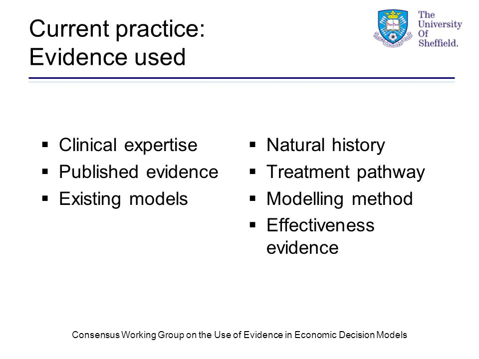 Consensus Working Group on the Use of Evidence in Economic Decision Models Current practice: Evidence used  Clinical expertise  Published evidence  Existing models  Natural history  Treatment pathway  Modelling method  Effectiveness evidence