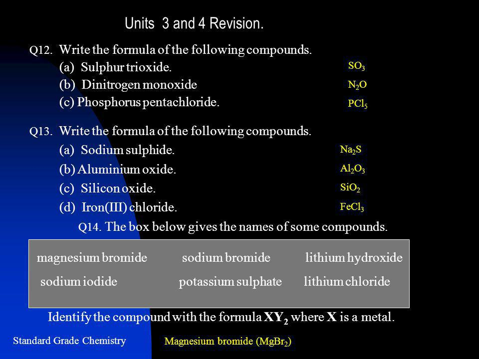 Units 3 and 4 Revision. Q12. Write the formula of the following compounds.