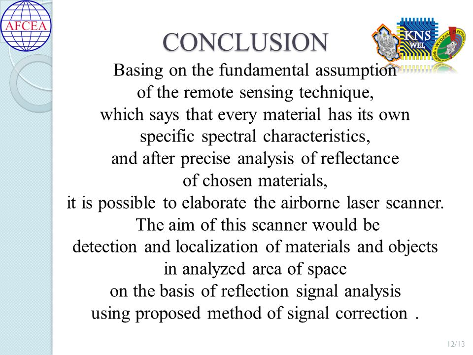 CONCLUSION Basing on the fundamental assumption of the remote sensing technique, which says that every material has its own specific spectral characteristics, and after precise analysis of reflectance of chosen materials, it is possible to elaborate the airborne laser scanner.