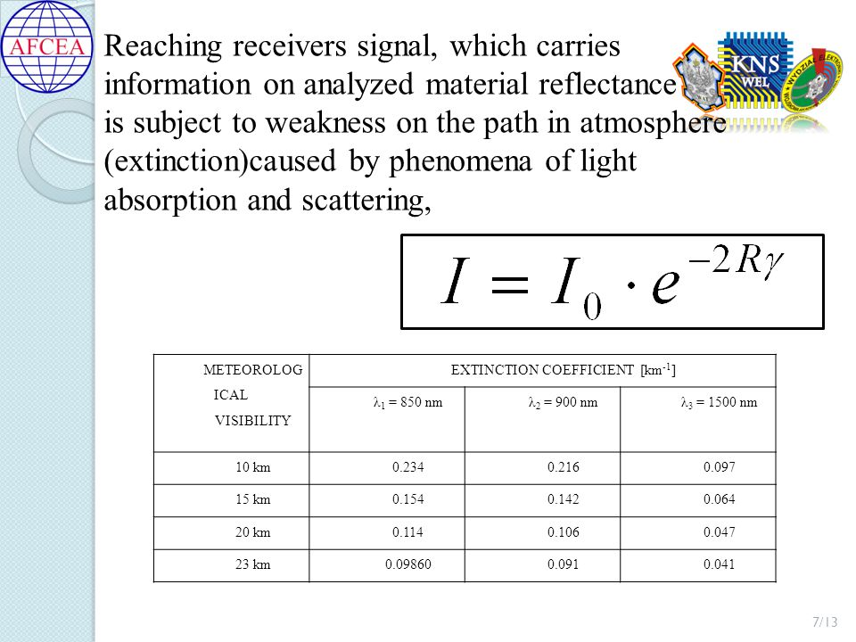 Reaching receivers signal, which carries information on analyzed material reflectance is subject to weakness on the path in atmosphere (extinction)caused by phenomena of light absorption and scattering, 7/13 METEOROLOG ICAL VISIBILITY EXTINCTION COEFFICIENT [km -1 ] λ 1 = 850 nmλ 2 = 900 nmλ 3 = 1500 nm 10 km0.2340.2160.097 15 km0.1540.1420.064 20 km0.1140.1060.047 23 km0.098600.0910.041